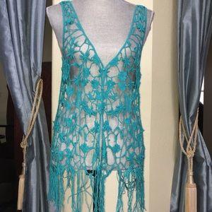 Aqua vest, Crocheted, M/L, fits like a S/M,